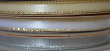 6mm x 5.5 meters GOLD THREAD DOUBLE SIDED SATIN RIBBON